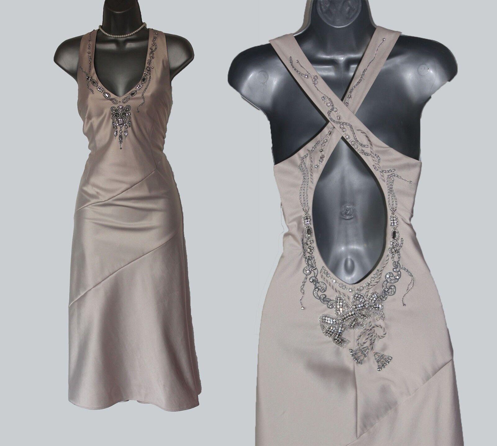 Einzigartig Karen Millen UK 12 Beige Schmuck Hals Griechisch Glamour Kleid