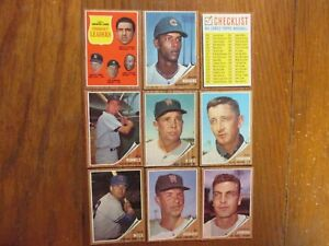 Details About 9 1962 Topps Cards Wwhitey Fordandre Rodgerspete Runnelschecklistjim King