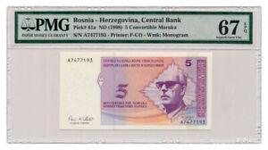 BOSNIA-HERZEGOVINA-banknote-5-CONVERTIBLE-MARAKA-1998-PMG-MS-67-EPQ