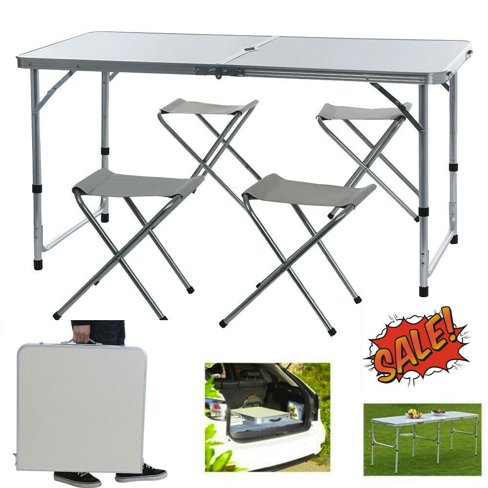 Folding Table 4 Stools Portable Indoor Outdoor Picnic Party Dining Camp Tables