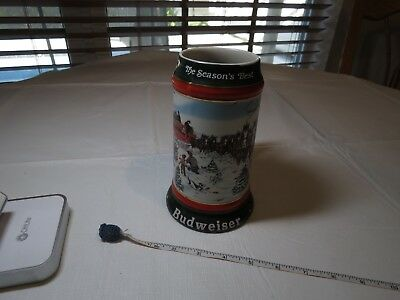 1991 collectors series Mug Budweiser Christmas Beer Stein Clydesdales Holiday