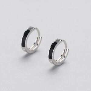 Klapp-Creolen-Schwarz-echt-Sterling-Silber-925-Damen-Kreolen-Ohrringe
