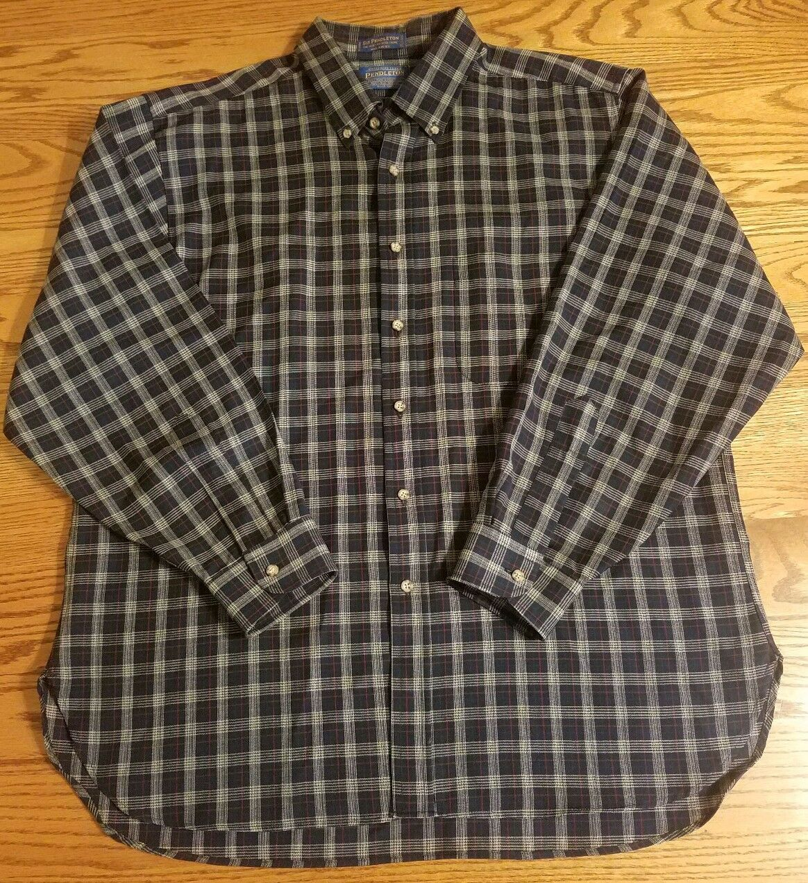 Pendleton Sir Fine Worsted Wool Plaid Shirt Size XL Vintage Button Down