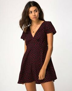 MOTEL-ROCKS-Elara-Dress-in-Mini-Diana-Dot-Black-Red-Size-XS-Extra-Small-mr19