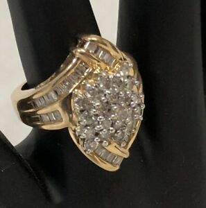 STUNNING-14k-Yellow-Gold-2-52-CT-TW-Diamond-Cluster-Cocktail-Ring