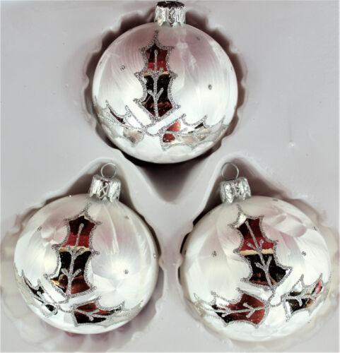 Lauscha peintes à la main 3er Décorations de Noël Set 8 cm boules eislack Blanc laurier