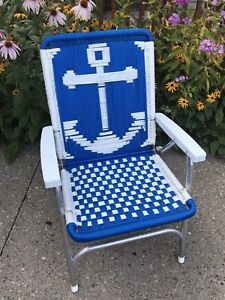 Pleasing Details About Vtgaluminum Macrame Webbing Folding Lawn Chair Blue White Nautical Boat Anchor Onthecornerstone Fun Painted Chair Ideas Images Onthecornerstoneorg