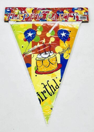 Cake Yellow AEX Happy Birthday Flag Shape 8ft Party Decorations Bunting Banner