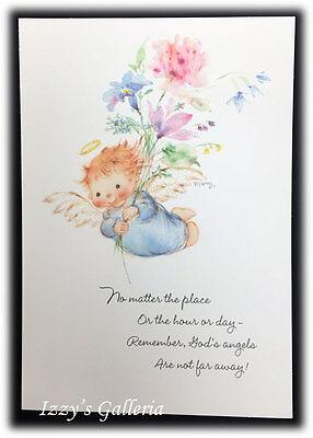 Vintage Mary Hamilton God's Angels Are Not Far Away Blessings Birthday Card