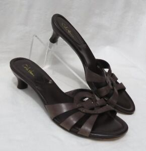 ca9bffc116f COLE HAAN Women s Brown Leather Kitten Heels Studded Sandals Shoes ...