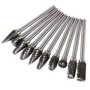 10PCS 3*6mm Tungsten Head Carbide Burrs for Rotary Drill Die Grinder Carving Bit