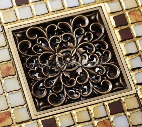 Antique Brass Square Bathroom Floor Drain Waste Grate Shower Drainer Bhr013