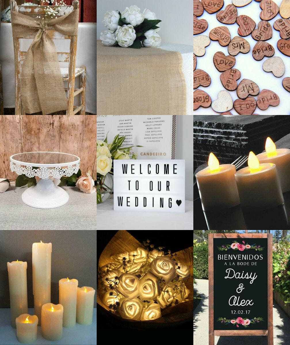 Rustic Wedding Party Decorations Hessian Barn Burlap Jute Decor Table Vintage