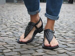 MJUS-Schuhe-TIME-954007-black-schwarz-Echtleder-Damensandalen-Nieten-Sandalen