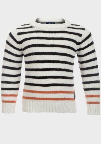 MINOTI boys  jumper sweater top crew neck striped white grey kids childrens  NEW
