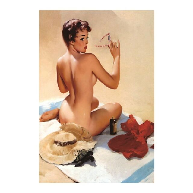 Sexy Girl Beach Nude Metal Tin Sign Garage Rustic Man Cave Poster Bar Wall Decor