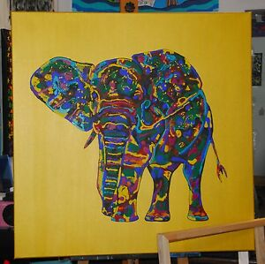 xxl acryl kunst abstrakt 3 d leinwand bild art handgemalt elefant unikat ebay. Black Bedroom Furniture Sets. Home Design Ideas
