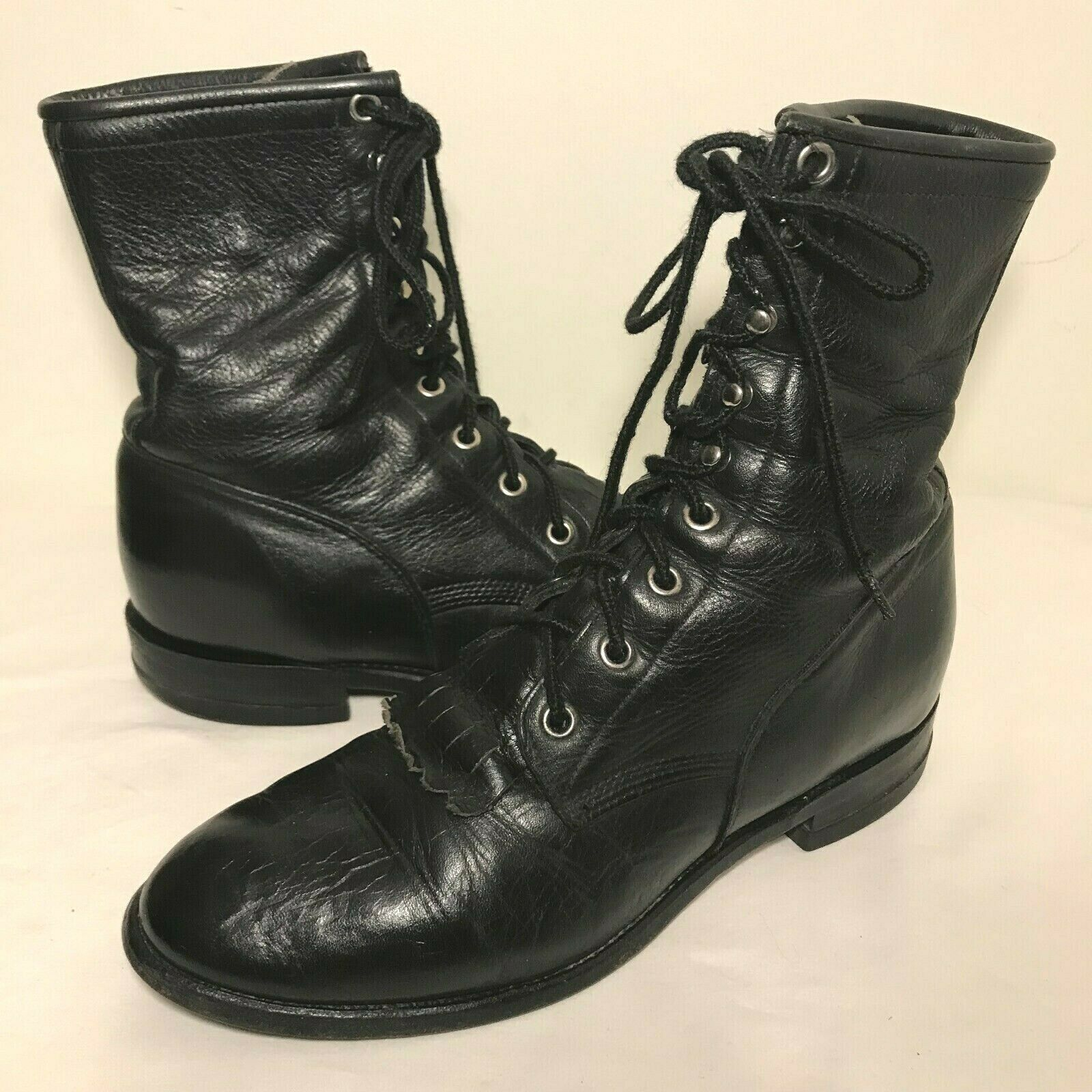 Justin Kiltie Roper Boots Style 620 Womens Size 6 D Black Lace Up Western Cowboy