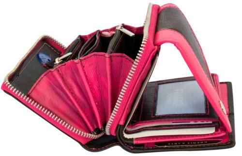 Damen Geldbörse Leder Pink Schwarz 25 Fächer Portemonnaie Damenbörse Lederbörse