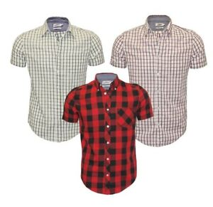 Ex-UK-Chainstore-Para-hombres-Mangas-Cortas-Cuadros-Algodon-Verano-informal-Camisa-Prendas-para-el