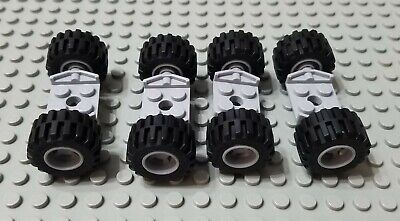 LEGO 2 Pair of Medium Car Tires with White Hubs on Gray 2x2 Axle Plates