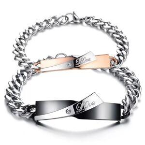 miglior servizio e21c9 64356 Dettagli su Bracciale lui e lei incisioni love acciaio coppia braccialetto  fidanzati regalo