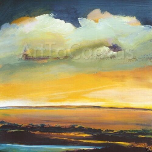 """30/""""x30/"""" LONG JOURNEY by S BROOKE ANDERSON CLOUDY STORMY OVERCAST SUNSET CANVAS"""