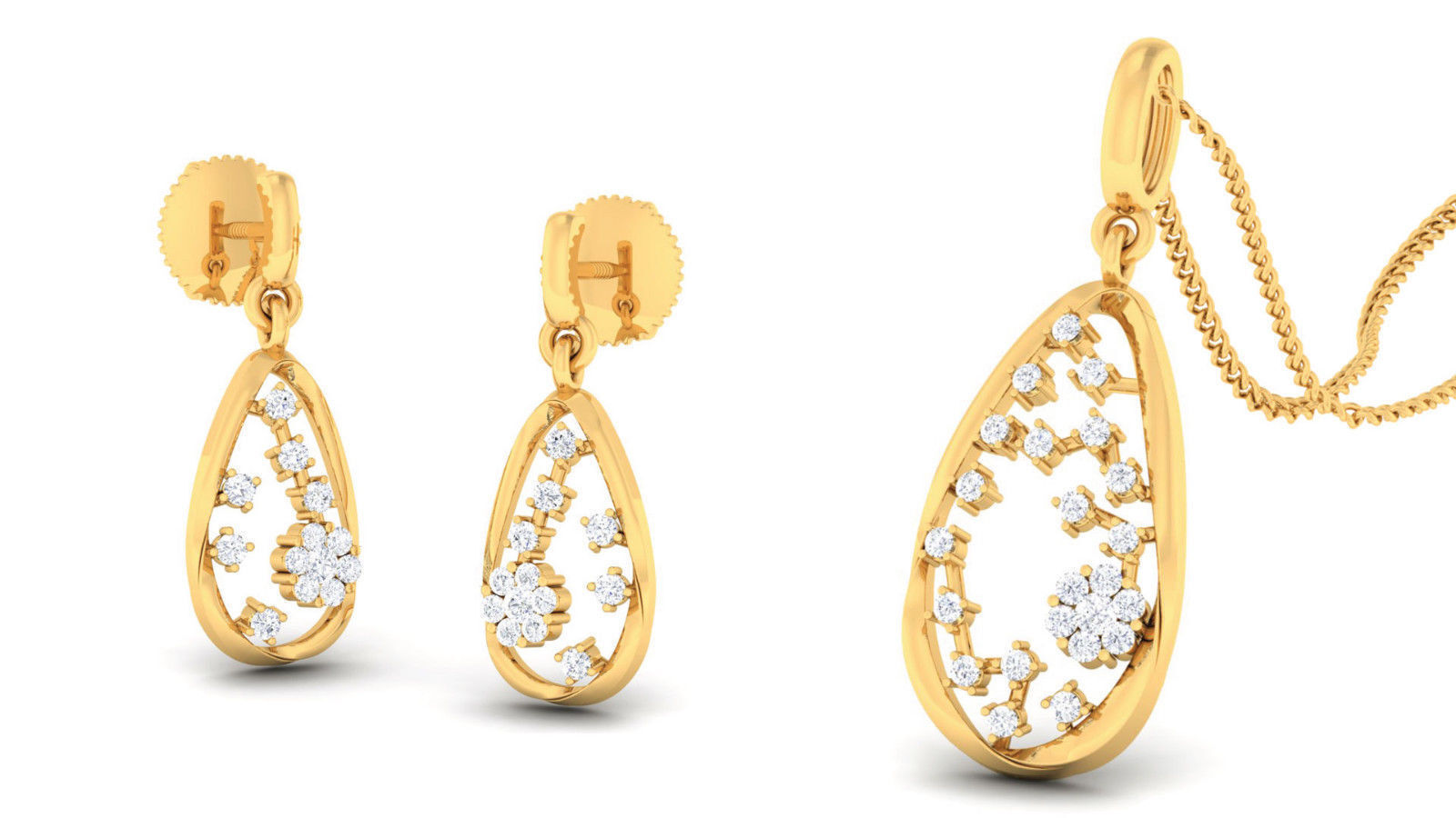 Pave 0.61 Cts Natural Diamonds Pendant Earrings Set In Solid Certified 14K gold