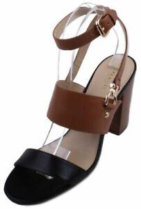 Coach-Sherri-Womens-Saddle-Black-Mat-Calf-Leather-High-Heel-Sandals-size-9-5