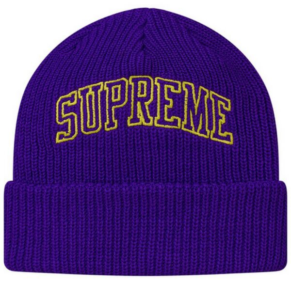 9aa7cc9b809 SUPREME Loose Gauge Arc Beanie Black Purple box logo camp cap F W 17