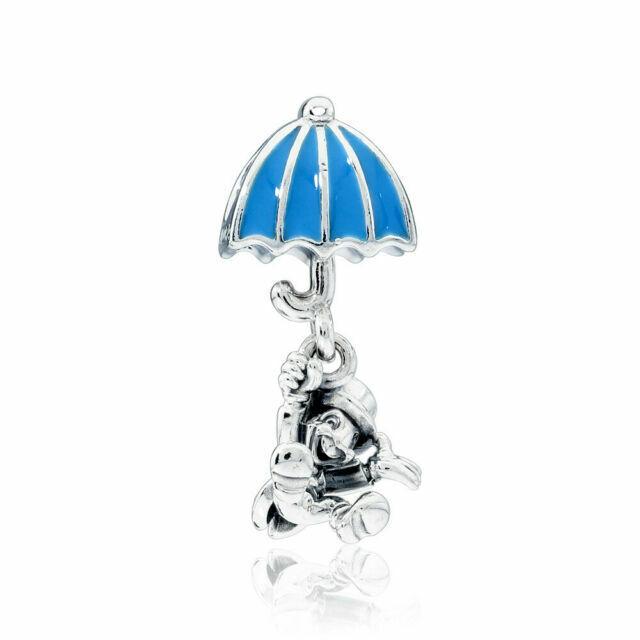 925 Sterling Silver Disney Jiminy Cricket Dangle Charm Blue Enamel