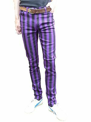 Aus Dem Ausland Importiert Mens Drainpipes Purple Black Stripe Trousers Skinny Jeans Vtg Indie Mod Hipsters Up-To-Date-Styling