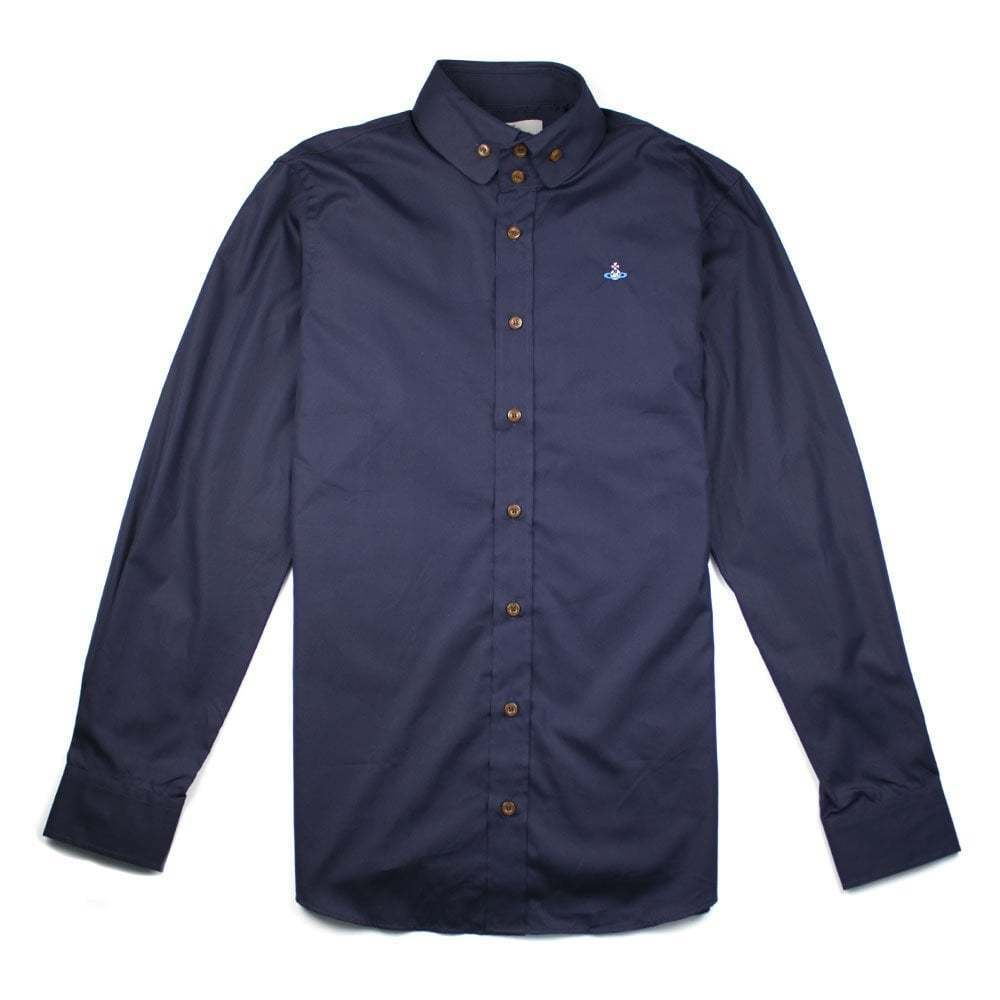Vivienne Westwood Mens Slim Fit Double Button Navy Shirt     |