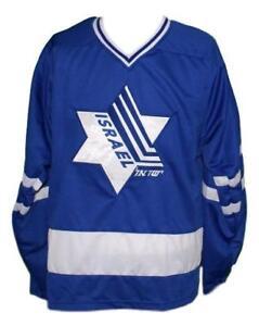 Custom-Name-Team-Israel-Retro-Hockey-Jersey-New-Blue-Any-Size