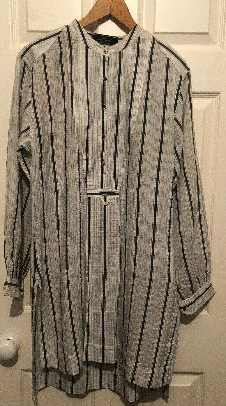 By Marlene Berger Striped Long Shirt - White & Grey - Size 12