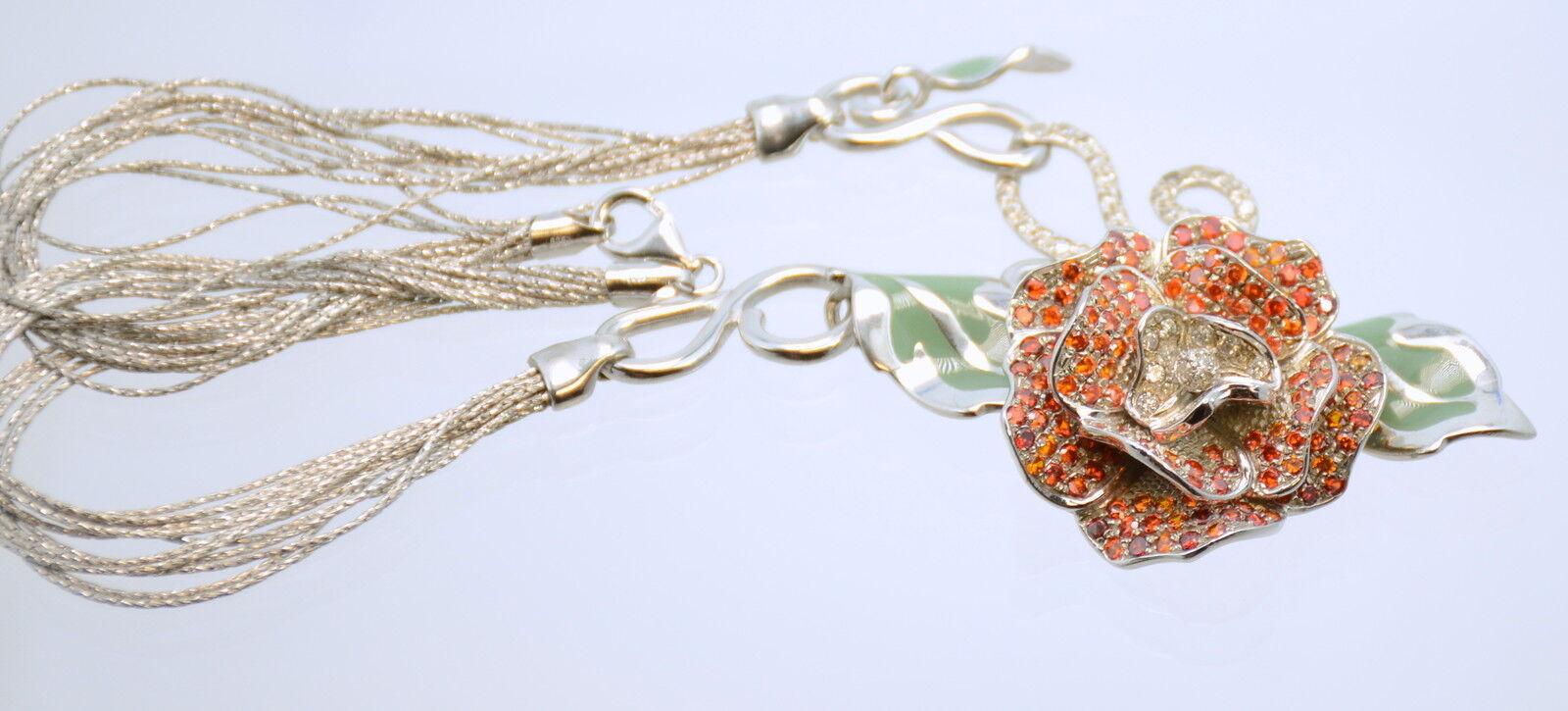 Menegatti Menegatti Menegatti argentoo Sterling Massiccio Smalto verde Arancione Cristallo be9765