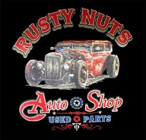 98725c002 RUSTY NUTS AUTO SHOP RAT ROD VINTAGE LOOK WORK SHIRT DICKIES BUTTON ...