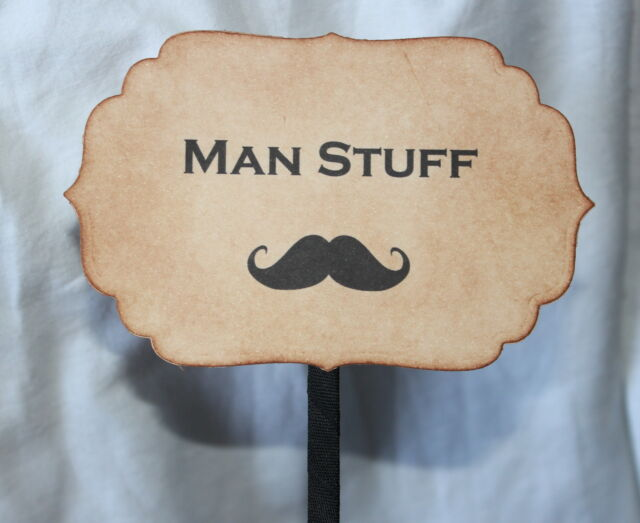 MAN STUFF-BATHROOM BASKET SIGN-Wedding-Vintage Style-Unique-Handmade for You