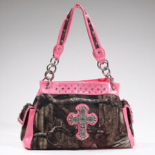 Mossy Oak Camo w/ Pink Trim Rhinestone Cross Studded Western Handbag IN/PK