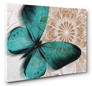 Unique Abstract Butterfly Canvas Print Blue Brown Wall Art Picture