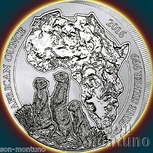 2016-Rwanda-MEERKAT-1oz-999-Silver-Mint-Sealed-BU-African-Wildlife-Bullion-Coin