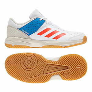 7e8a1cf9303 Adidas Court Stabil JR Kids Indoor Trainers Boys Girls White Gym ...