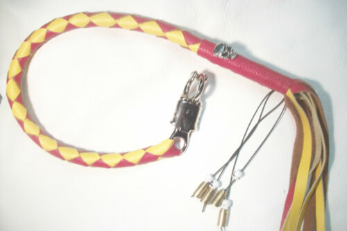 biker whip getback ULTIMATE whip RED /& GOLD  SKULLS  BY STITCH!!!!