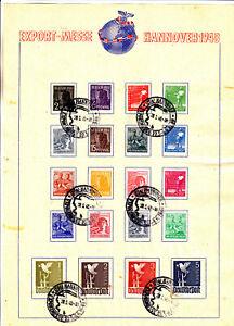 943-962 Erinnerungsblatt    Sonderstempel  Export-Messe Hannover Mi 120