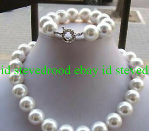 14MM-White-AAA-South-Sea-Shell-Pearl-Round-Beads-Necklace-Bracelet-Set-18-039-039