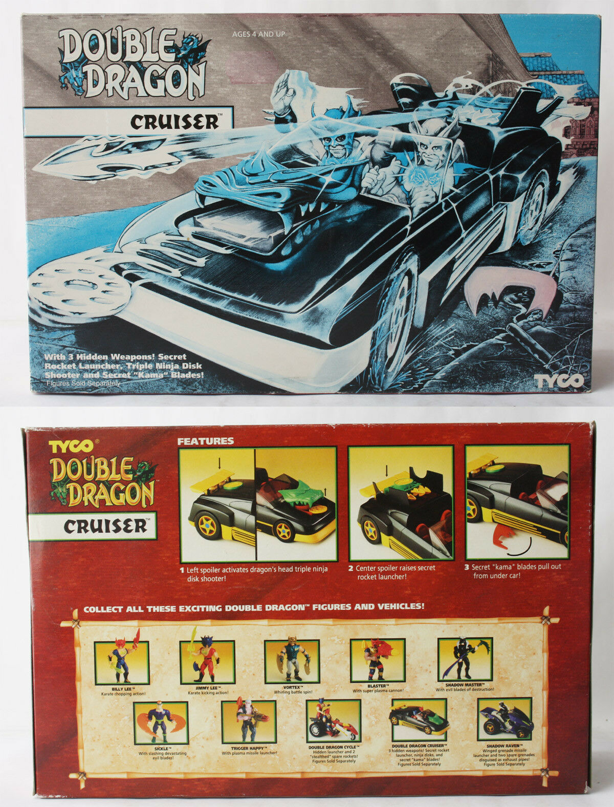 RARE VINTAGE 1993 DOUBLE DRAGON CRUISER CAR TYCO NEW SEALED MISB
