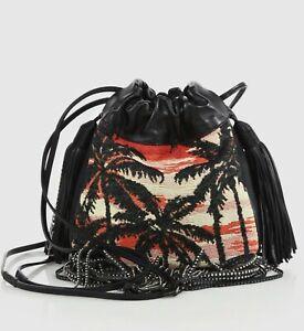 7fe047e4ab9 $1650 Yves Saint Laurent Black Helena Fringed Bucket Cross-body Bag ...