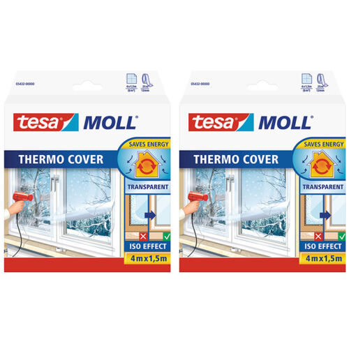 2 x Tesamoll Fenêtre Film isolant Thermo Cover Transparent
