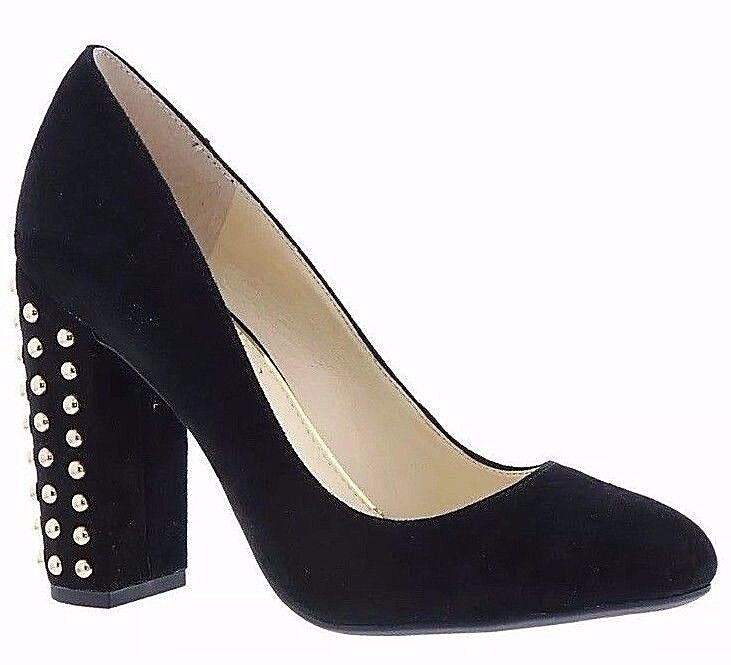 Jessica Simpson Simpson Simpson Bainer Black Suede Leather Round Toe High Thick Heel Pumps 4d212d