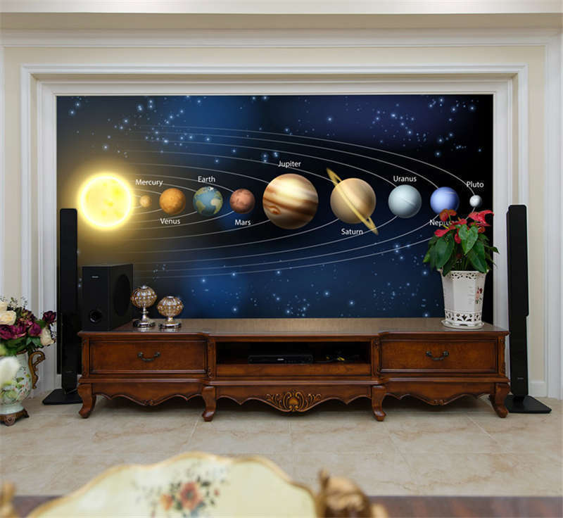 Nine Planets Solar System Full Wall Mural Photo Wallpaper Print Home 3D Decal